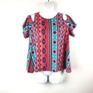 Rue21 aztec print cold shoulder dress top
